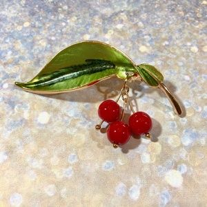 Cherry bomb pin. Little dangling cherries Pinup